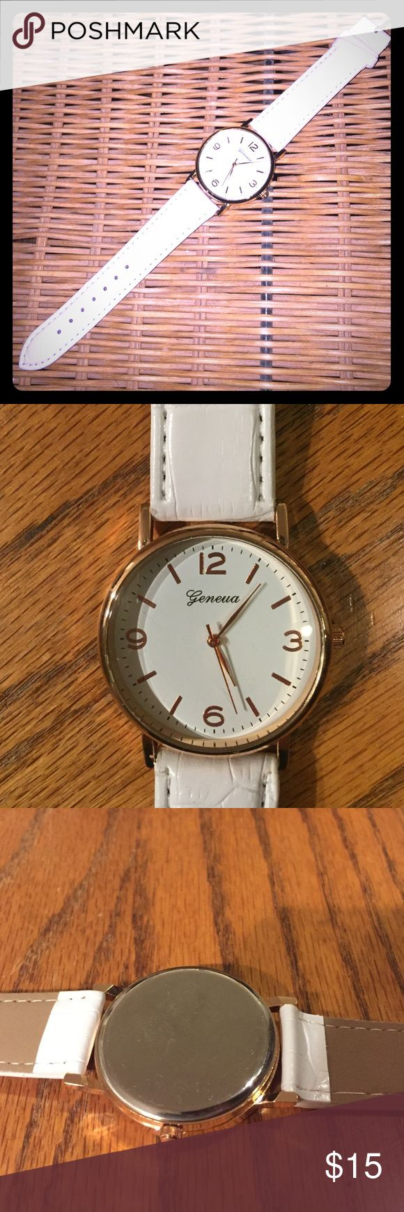 NOW ACCEPTING TRADES FOR THIS WATCH! White and Rose Gold Watch: New condition - tried on only. May need a new battery because the second hand seems to stick. Strap is stiff and reminds me of leather. Make an offer! All bundles 30% cheaper. Accessories Watches