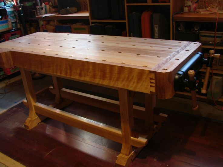 I made this a few years ago as I began the (seemingly endless) transition to being a self-employed woodworker. I followed Lon Schleining's Essential Workbench pretty closely.The top and base are made...