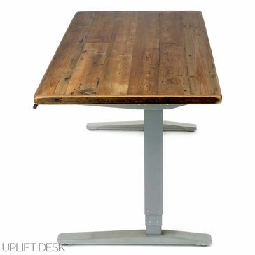 an uplift stand up desk with reclaimed wood top is an ecofriendly way to stand at work featuring eyecatching real wood available now at human solution