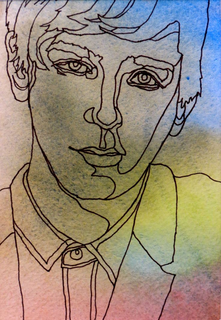 GOING GREEN - An Original Artwork - Ink Drawing on Abstract Watercolor Painting - One Continuous Contour Line of a Face. $45.00, via Etsy.