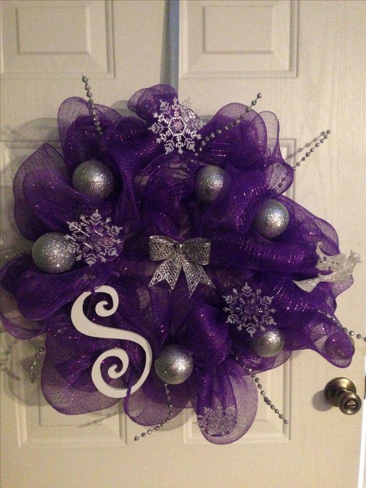 Purple mesh Christmas wreath.