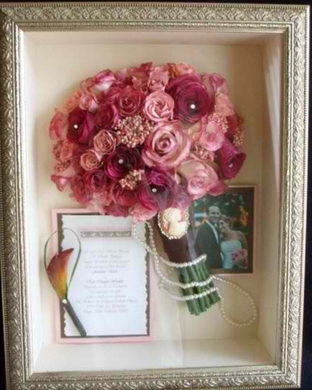 Wedding Shadow Box Ideas - Include invitation, bouquet, boutonnière, and a photo as momentos of your wedding.