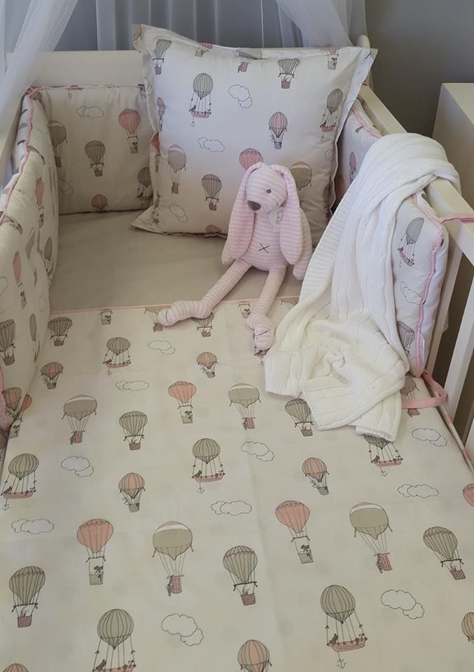 Our #UpandAway bedding in #pink and #taupe is perfect for any #BabyGirl's #AdventureTheme nursery!   #BabyBedding #BabyLinen