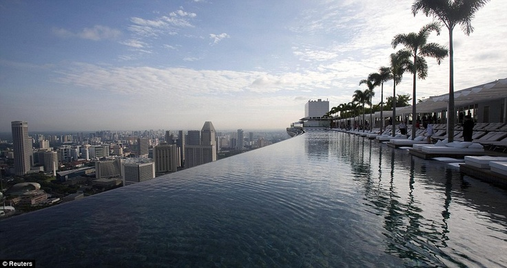 Marina Bay Sands Hotel  The pool stretches 150 meters, three times the length of an Olympic                  swimming pool.
