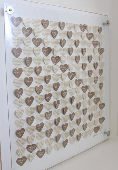 """""""Gästebuch"""" für die Wand mit Herzen"""