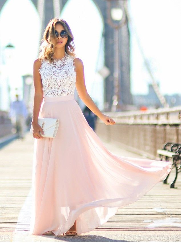 Buy Gorgeous Crew Long Pink Chiffon Prom Dress with White Lace Top Prom Dresses under US$ 134.99 only in SimpleDress.