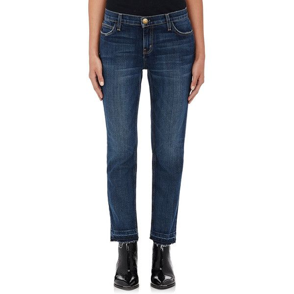 Current/Elliott Women's Cropped Straight Jeans ($228) ❤ liked on Polyvore featuring jeans, blue, cropped jeans, faded jeans, blue jeans, relaxed fit straight leg jeans and straight-leg jeans