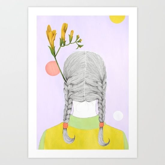 girl with yellow flowers Art Print