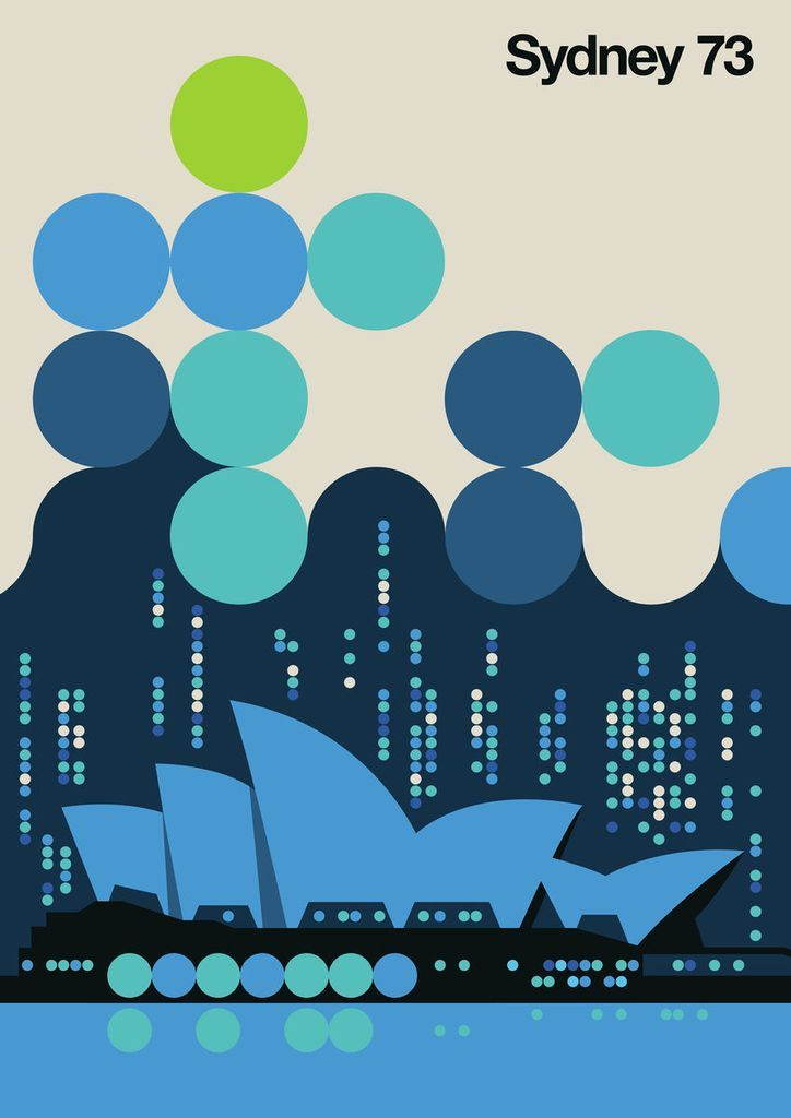 Sydney 73 Modern Vintage Design By Bo Lundberg Vintage Graphic Design Vintage Poster Design Posters Art Prints