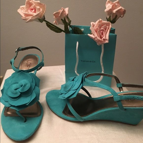 "Francis Flower Wedge shoe by Ann Taylor Loft Never worn turquoise or ""Tiffany Blue"" size 8. Perfect for dress, jeans or shorts. Ann Taylor Shoes Wedges"
