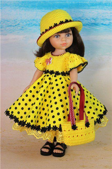 """Наряд для куклы 30 - 33 см. """"Желтый в горох"""" / Одежда для кукол / Шопик. Продать купить куклу / Бэйбики. Куклы фото. Одежда для кукол"""