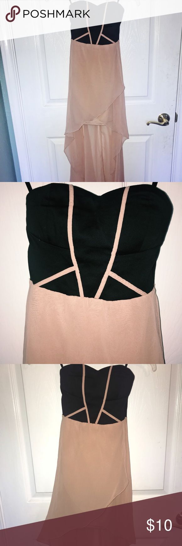 HIGH LOW STRAPLESS DRESS Charlotte rouse pink and black geometric dress. High-low. Strapless. Charlotte Russe Dresses High Low