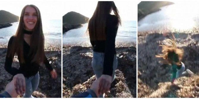 VIDEO ΣΟΚ: Σπρώχνει την κοπέλα του και την ρίχνει από βράχο