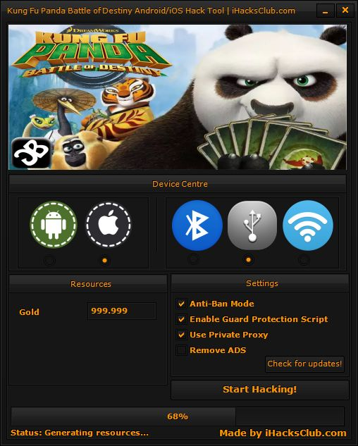 Get the Kung Fu Panda Battle of Destiny Hack Cheats for Android/iOS device and get unlimited Gold in the game without root or jailbreak!
