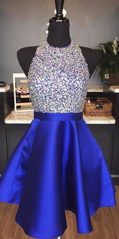 royal blue homecoming dress, sparkly sequins homecoming dress, short homecoming dress, 2017 homecoming dress, backless homecoming dress