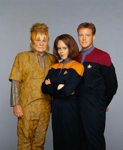 Neelix (Ethan Phillips), Lt. B'Elanna Torres (Roxann Dawson) and Lt. Tom Paris…