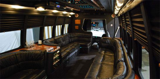 18 passenger limo bus interior, one of two limo buses in our fleet.