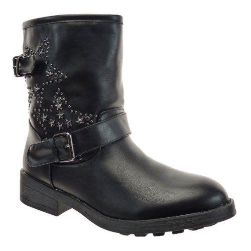 In Offerta! #Offerte Abbigliamento#Buoni Regalo   #Outlet Kickly - Scarpe da Moda Stivaletti - Stivali Scarponi al polpaccio donna borchiati stelle strass Tacco a blocco 3.5 CM - Nero disponibile su Kellie Shop. Scarpe, borse, accessori, intimo, gioielli e molto altro.. scopri migliaia di articoli firmati con prezzi da 15,00 a 299,00 euro! #kellieshop #borse #scarpe #saldi #abbigliamento #donna #regali