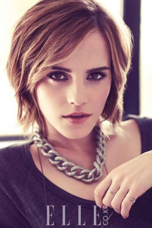 Bob Haircuts for 2014: Stylish Layered Short Bob Hairstyle with Bangs Watson is gorgeous with everything.