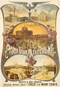 1895 travel poster for Paris, Lyon, and the Mediterranean with photos of Italy. love the art nouveau styling.