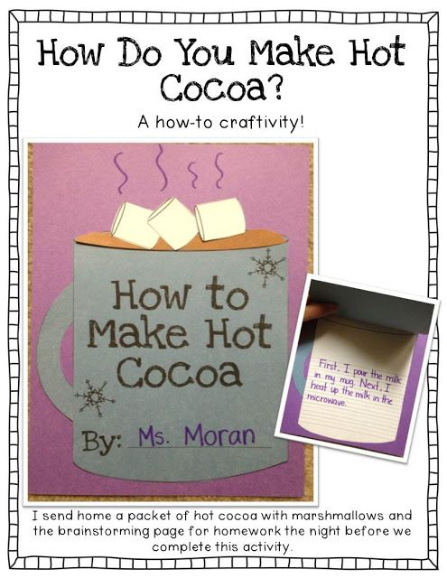 How to make hot cocoa writing prompt and craft. Tons of other winter writing prompts included.