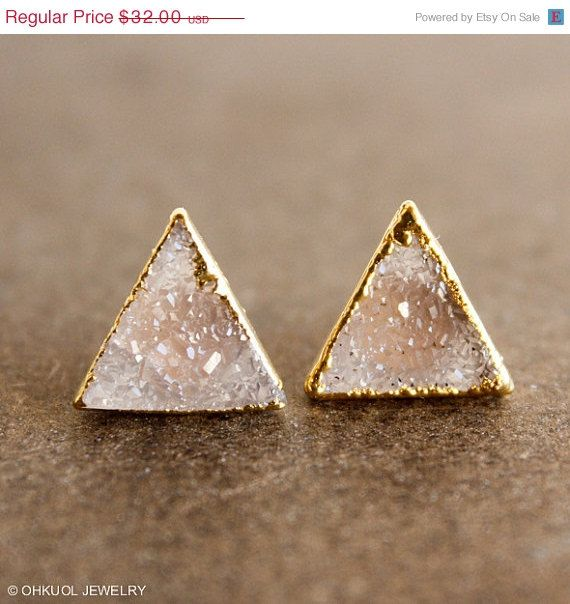 BLACK FRIDAY SALE Vanilla Druzy Quartz Stud Earrings - Pyramid Posts, Triangles - 14K Gf Posts on Etsy, $25.60