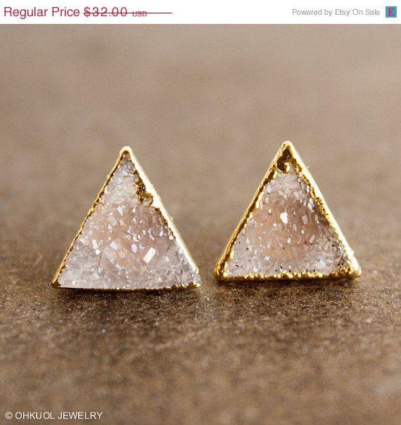 Vanilla Druzy Quartz Stud Earrings - Pyramid Posts, Triangles - 14K Gf Posts on Etsy, $25.60