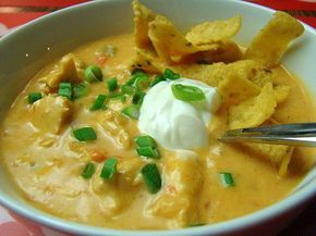 Yummiest chicken tortilla soup ever!  I tweak the recipe slightly. I add a can of Rotel tomatoes and one cup or more Pace picante sauce, medium or hot. Also, add more chicken broth and/or half and half to make thinner. I also bake my chicken using tenderloins with Tony's shaken over them. Back about 30 minutes, until done. Then chop up and shake in Ziplock bag of taco seasoning.