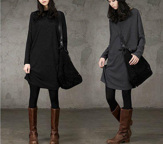 Simple Elegant Women Grey Silk Cotton Dress Women by MordenMiss, $56.00