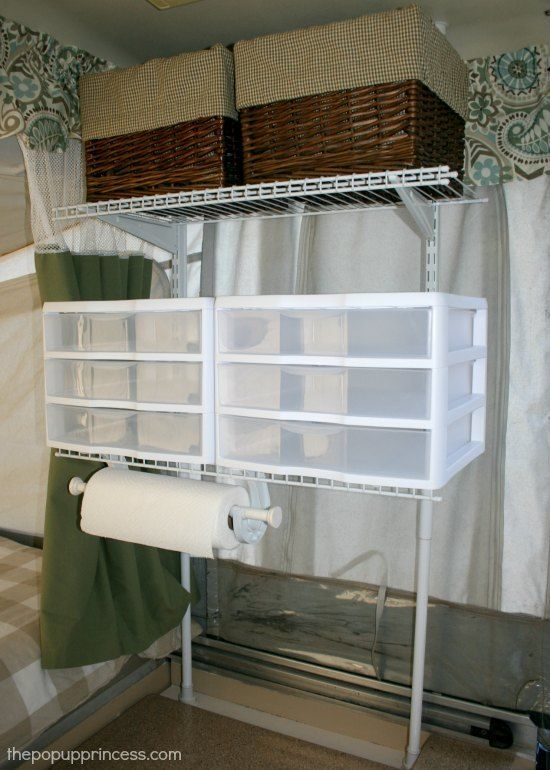 Pop Up Camper Mods Tension Rod Wire Shelving  CAMPING