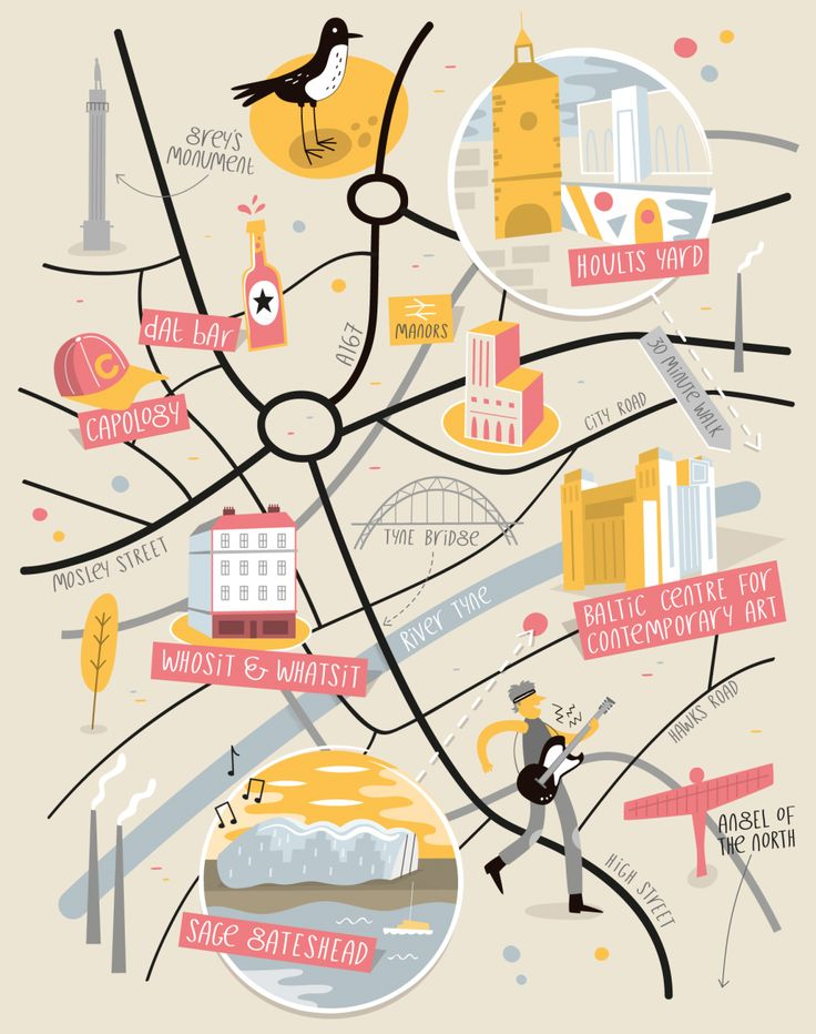 Illustrated map of Newcastle by Tom Woolley