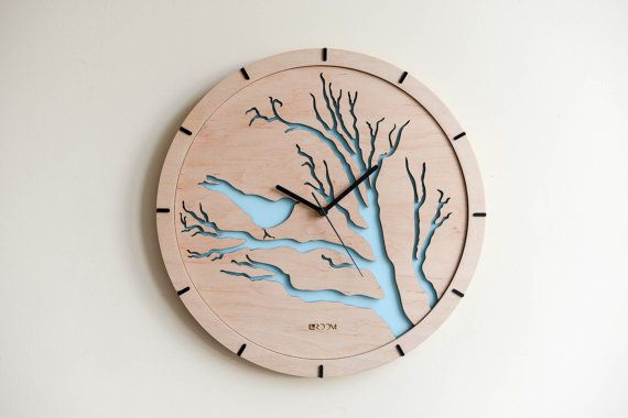 "Modern Wall Clock ""Bird"", blue,  Large Wall Clock, Wooden Clock, Wood Decor Green Leaves Interior, plywood, handmade, swarowski, hermle"