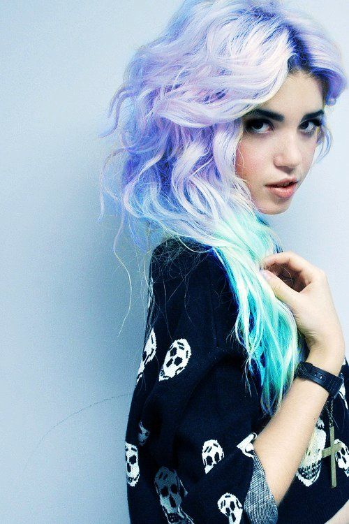 Dip Dye Hair Tumblr Blue