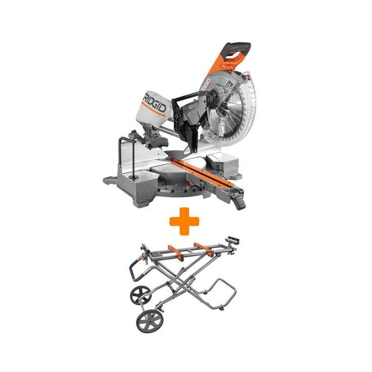 RIDGID 15 Amp 12 in. Dual Bevel Sliding Miter Saw with Mobile Miter Saw Stand-R4221-AC9946 - The Home Depot