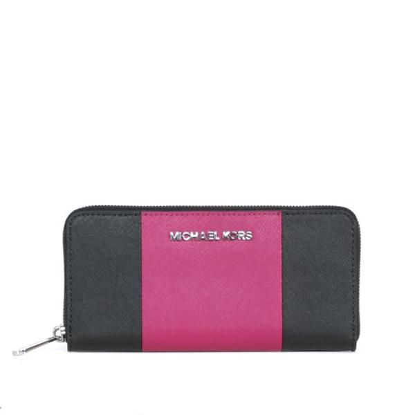 MICHAEL by Michael Kors Black and Deep Pink Jet Set Travel Center Stripe Continental Bicolor Wallet