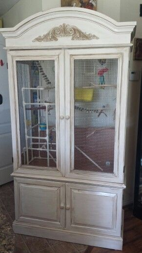 ♥ Pet Bird Cage Ideas ♥ DYI bird cage from old armoire