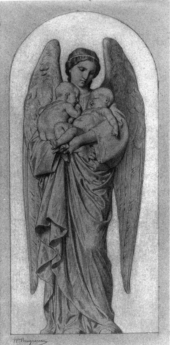 Angel Holding Two Infants.  William-Adolphe Bouguereau (French, 1825-1905): Angel Hold, Angel Wings, Bouguereau French, Angel Angel, 18251905, 1825 1905, Angel Faris Cherub Xoxo, Angel Art, Williams Adolphe Bouguereau