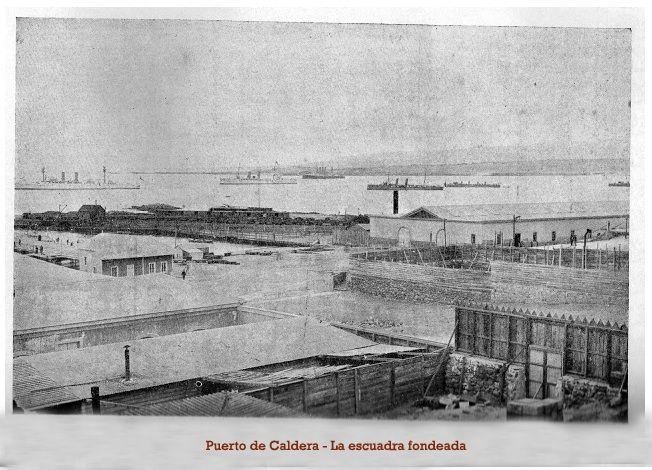 Guerra del Pacífico. Escuadra chilena fondeada en el puerto de Caldera.