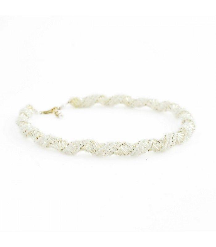 68b9ca513 Korálky Janka náhrdelník bílostříbrná spirála   Šperky z korálků ...