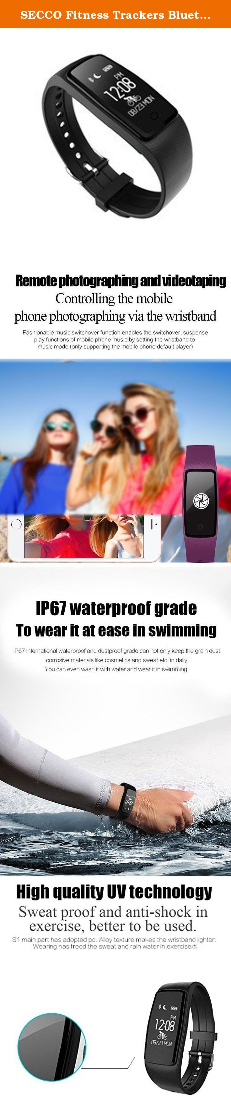 SECCO Fitness Trackers Bluetooth Smart Wristband Heart Rate Monitor IP67 Waterproof Smartband Bracelet For Android IOS Phone. Fitness Tracker Sleep Tracker Mood Tracker Push Message Answer Call Call Reminder Pedometer Remote Control Dial Call.