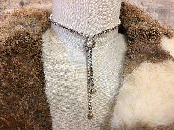 Vintage rhinestone lariat choker Y necklace