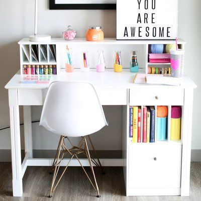 17 best ideas about white desk with hutch on pinterest desk with hutch computer desk with - White desk for teenage girl ...