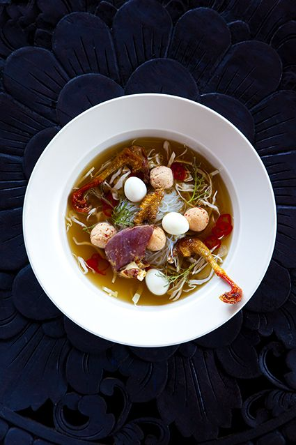 Our version of bakso, the traditional Balinese soup - here served with leg and eggs of quail