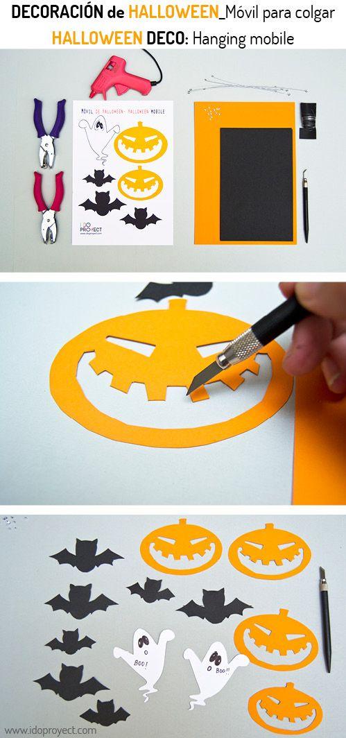 DIY Halloween deco hanging mobile_ Decoración de Halloween móvil de colgar, hazlo tu mismo