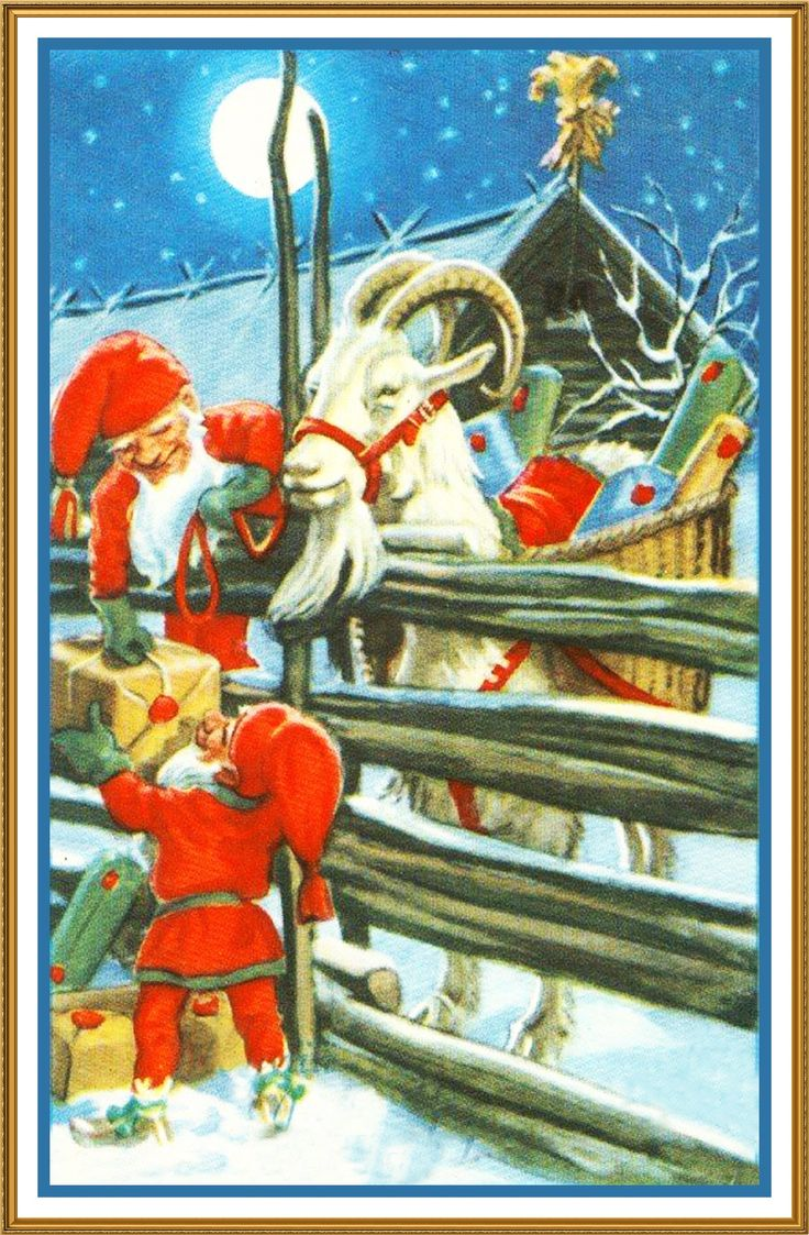 Elves Ram Presents Jenny Nystrom Holiday Christmas Counted Cross Stitch or Counted Needlepoint Pattern