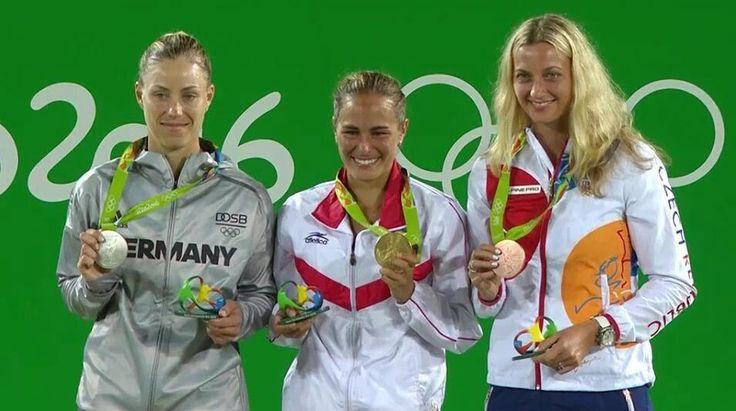 If you are on that podium you have made history!  Your 2016 Olympic Women's Singles Medalist!  Congrats girls!  Photo/Foto: Uknown/Desconocido  #olympics #rio2016 #olympics2016 #tennis #tenis #olympicmedalist #adidas #ellesse #nike #yonex #babolat #wilson #atp #wta #czechrepublic  #germany #deutschland #puertorico @monicaace93 @angie.kerber @petra.kvitova