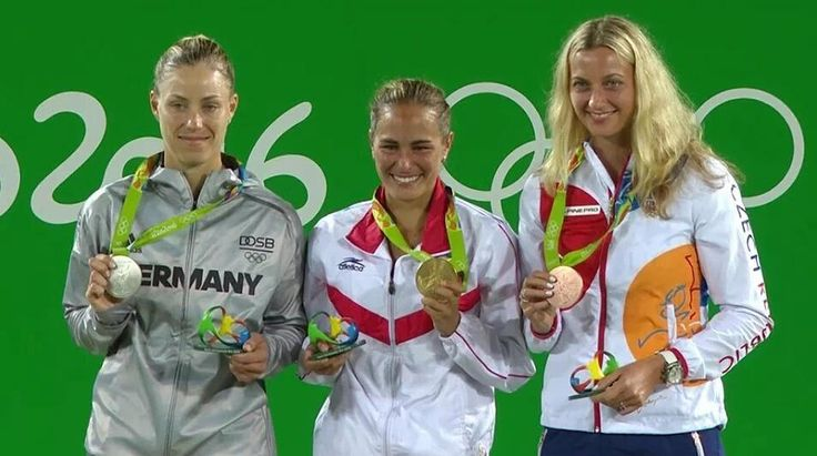 If you are on that podium you have made history!  Your 2016 Olympic Women's Singles Medalist!  Congrats girls!  Photo/Foto: Uknown/Desconocido  #olympics #rio2016 #olympics2016 #tennis #tenis #olympicmedalist #adidas #ellesse #nike #yonex #babolat #wilson #atp #wta #czechrepublic  #germany #deutschland #puertorico @monicaace93 @angie.kerber @petra.kvitova