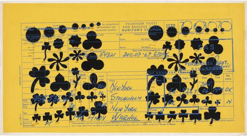 Andy Warhol. Scandanavian Airlines System Passenger Ticket and Baggage Check. 1967