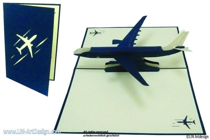 3D PoP Up Grußkarten Flugzeug Boeing von LIN Papier & Kunst auf DaWanda.com