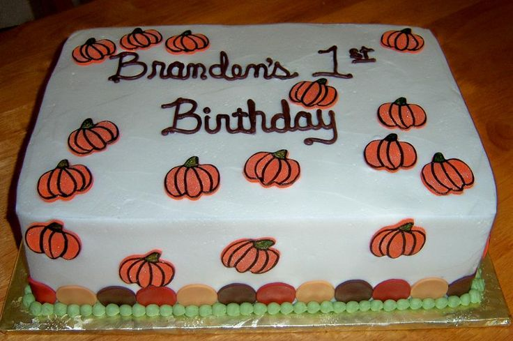 Simple sheet pumpkin birthday cake